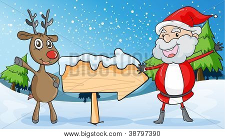 detailed illustration of a reindeer and santaclause