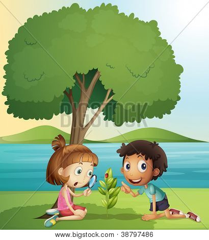 illustration of a boy and a girl in a beautiful nature
