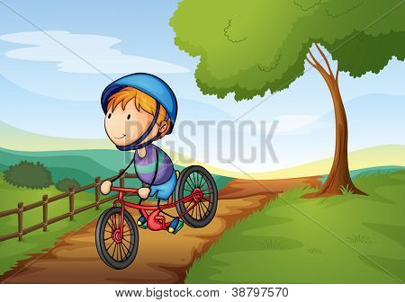illustration of a boy and a bicycle in a beautiful nature