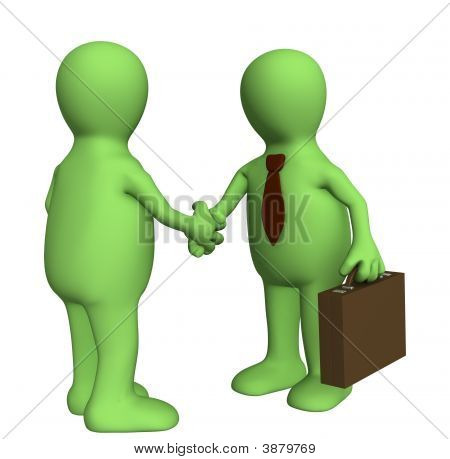 Shake Hand Of Two 3D Stylized People