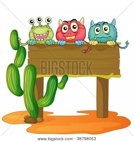 illustration of a board and monsters on a white background
