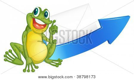 illustration of a frog and arrow on a white background