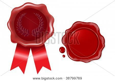 2 Wax Seals With Ribbon, Isolated On White Background, Vector Illustration