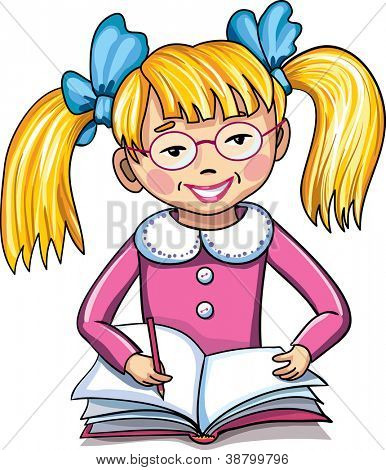 Little school girl with notebook and pen