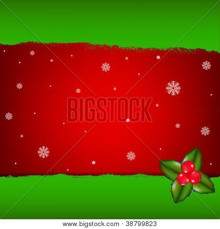 Merry Christmas Card With Holly Berry, Vector Illustration