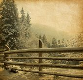 pic of rusty-spotted  - retro image  of winter landscape in the carpathians mountains - JPG