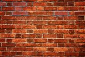 stock photo of brick block  - old red brick wall texture - JPG