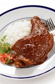 stock photo of poblano  - chicken with mole poblano sauce - JPG