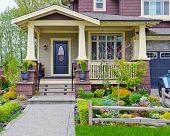 picture of brownstone  - A nice entrance of a luxury house over outdoor landscape - JPG
