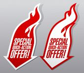 stock photo of fieri  - Special quick action offer fiery symbols - JPG