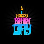 Happy Birthday typography banner, proprietary type created.