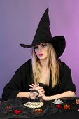 stock photo of witch ball  - Witch with crystal ball - JPG