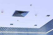 Office ceiling with built-in HVAC fire and systems