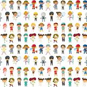 image of firemen  - illustration of kids on a white background - JPG