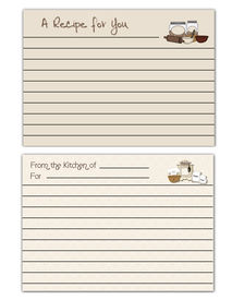 image of recipe card  - Two Lined recipe cards with cooking theme - JPG