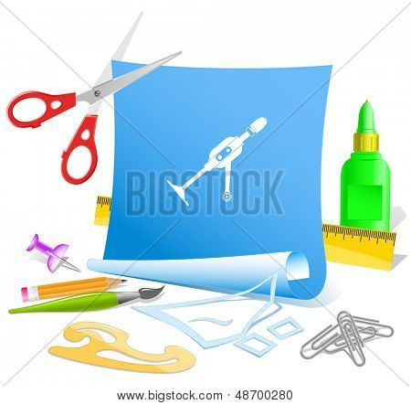 Hand drill. Paper template. Raster illustration.