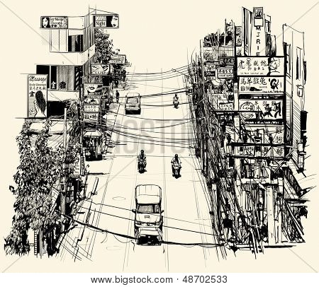 Street in Bangkok - vector illustration - all text and advertisement are fictitious