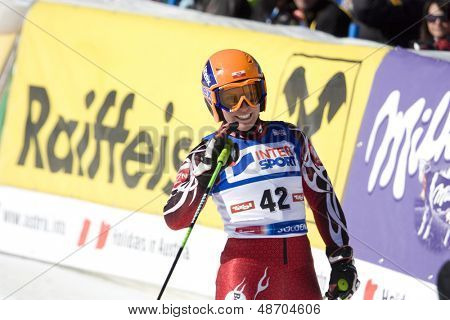 SOELDEN, AUSTRIA -OCT 25: GASIENICA DANIEL Agnieszka POL competing in the giant slalom race at the Rettenbach Glacier Soelden Austria, the opening race of the 2008/09 Audi FIS Alpine Ski World Cup in Soelden, Austria on Oct. 25, 2008.