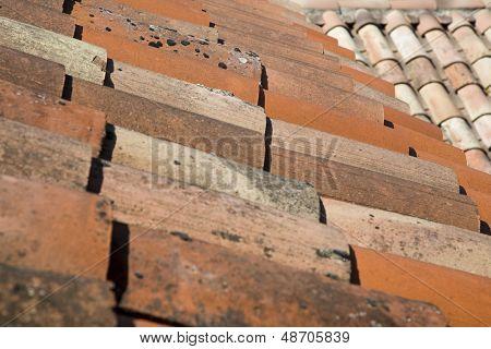 Detail-Aufnahme von Haus Dachziegel