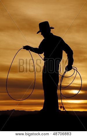 Cowboy Silhouette Hold Rope Loop