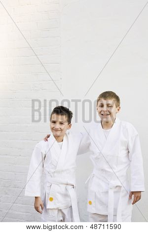 Portrait of two smiling young boys dressed in karate costume