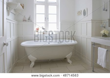 Freestanding bathtub in bathroom
