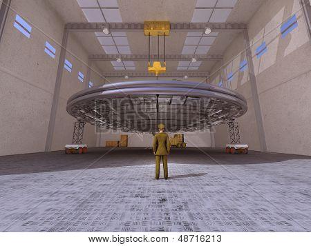 UFO in a hangar