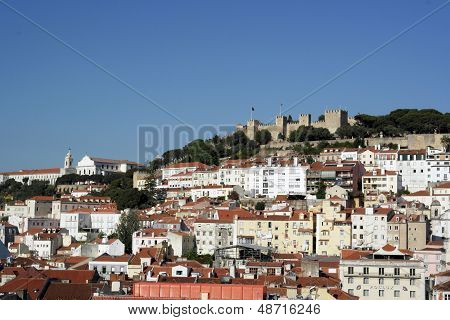 Downtown And Castle Of Saint George, Lisbon, Portugal