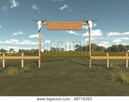 Entrance to a cattle ranch