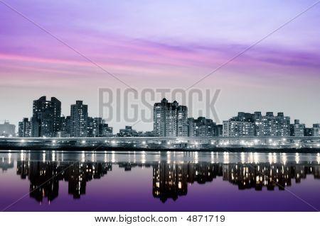City Night With Purple Light