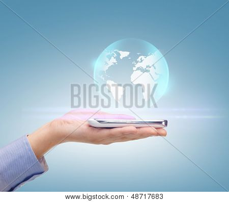 news, technology and environment concept - woman hand with sphere globe