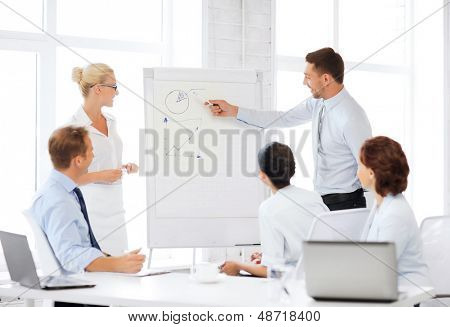 business concept - business team working with flipchart in office
