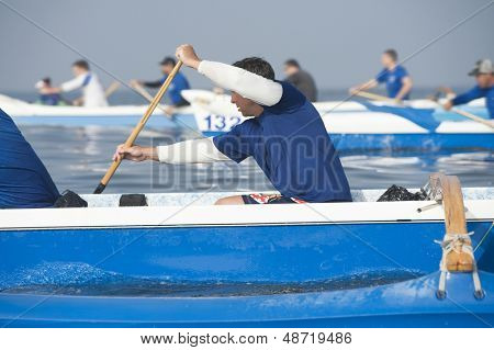 Outrigger canoeing teams compete