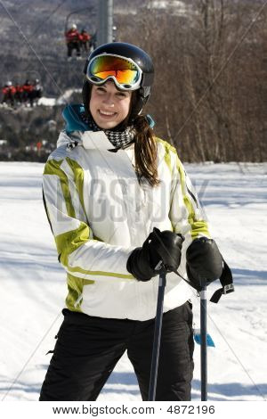 Portrait Of Young Girl Skiing