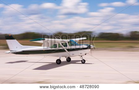 Landing Airplane With Motion Blur