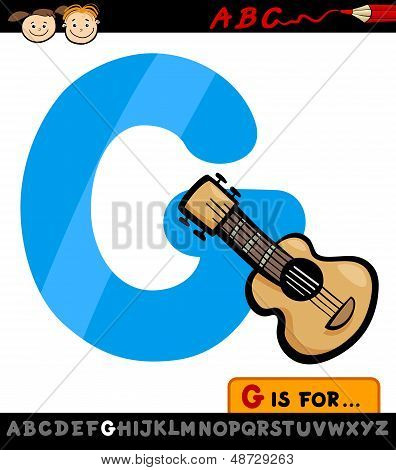 Letter G With Guitar Cartoon Illustration