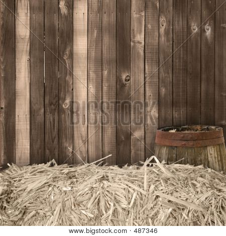 Hay And Wood Backdrop Insert Your Isolated Child Or Client