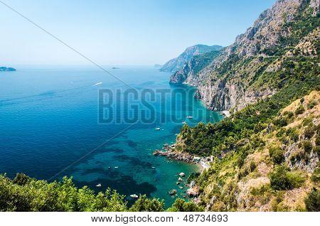 Via Nastro Azzurro, Amalfi Coast. Stunning Landscape With Hills And Mediterranean Sea, Italy