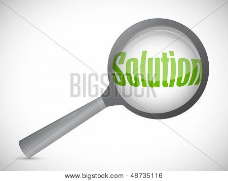 Magnifying Glass Showing Solution Word