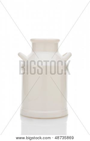 Old fashioned crock milk can, isolated on white with reflection.
