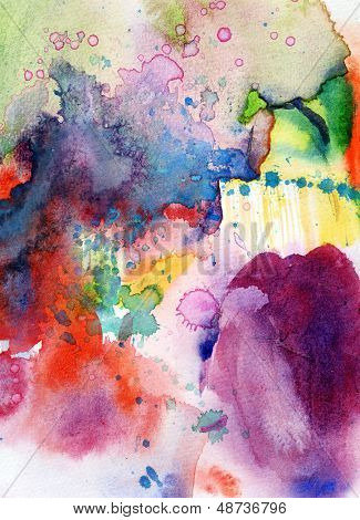 Abstract hand painted watercolor background on grunge paper texture