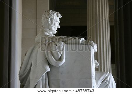 WASHINGTON, D.C. - JULY 29: The statue of Abraham Lincoln is shown at the Lincoln Memorial on July 29, 2013 in Washington, D.C. The memorial was dedicated in 1922.