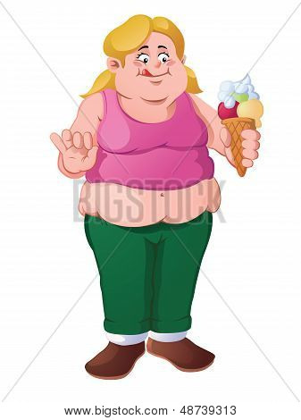Young, fat blonde girl with ice cream cone