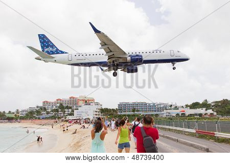 St Martin, Antilles - July 19, 2013: Jetblue Is The Fastest Growing Airline In The World. Embraer Je