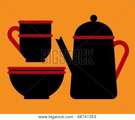Teapot, Teacup And Bowl