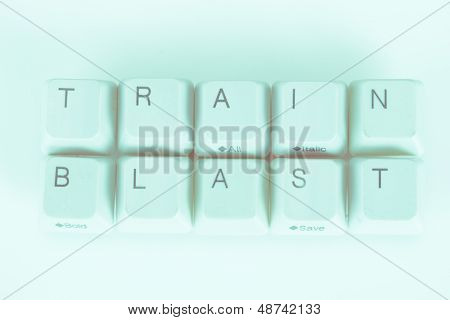 Train Blast word written with computer buttons