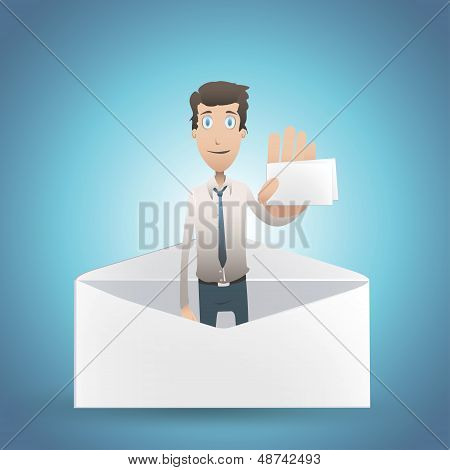 Business Man Holding Card Inside Envelope. Vector Design.