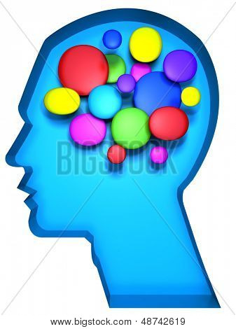 Creative minds concept a human head with colorful cell abstract brain illustration
