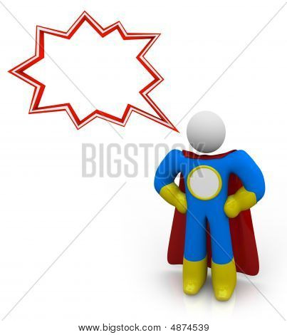 Superhero - Your Words In Text Balloon And On Chest