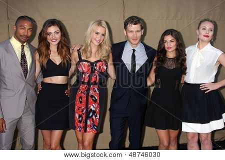 LOS ANGELES - JUL 29:  Charles Michael Davis, Phoebe Tonkin, Claire Holt, Joseph Morgan, Danielle Campbell, Leah Pipes arrives at the 2013 CBS TCA Summer Party on July 29, 2013 in Beverly Hills, CA